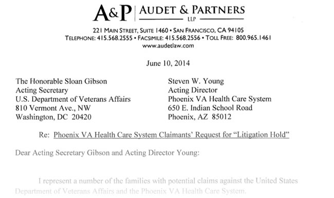 Phoenix VA Hospital Letter From William Audet