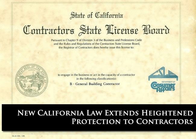 New Contractor Law Heightens Protection for California Contractors